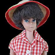 Vintage Brunette Bubblecut Barbie wearing partial #967 Picnic Set  jeans, checked blouse and h