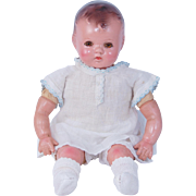 """SOLD Ideal composition baby doll 14"""" cloth body working crier amber sleep eyes & good las"""