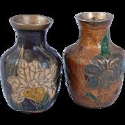 "Pair of miniature brass enamel vases India 2"""