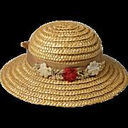 Vintage straw doll bonnet