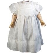SOLD Old doll dress gown eyelet lace cap sleeves square neckline 12 inch length