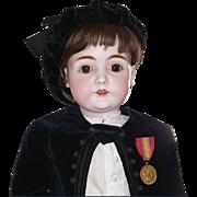 Antique Kestner 146 Boy big 32 inch wearing antique velvet costume