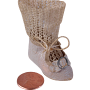 Tiny single German doll shoe and orignal knit sock cream stiffened paper  1 3/4 ...