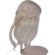 SOLD Replacement mohair doll wig long and wispy white blonde 5 1/2 head circ.
