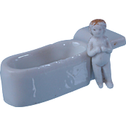 SALE PENDING Tiny Frozen Charlotte pudding doll with added tub casket blonde ringlet hair  1 i