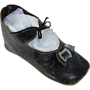 Single HUGE antique German doll shoe with buckle original laces 5 inches long 2 inches wide