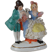 Miniature Dresden lace porcelain figurine courting couple Germany 2341 or 7341