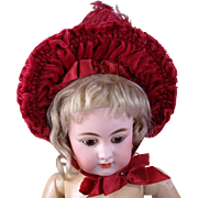 SOLD Vintage raspberry velvet doll bonnet with feather and fabric flowers for doll with 9-10 i