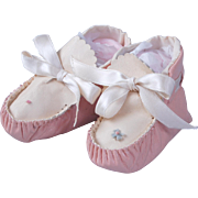 SALE Pink and cream leather baby doll moccasin booties large mama dolls
