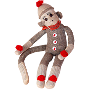 Vintage sock monkey doll Rockford Red Heel shoe button eyes adorable expression very well made