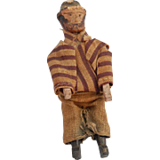 Tiny jointed Erzgebirge bearded man carved wood and painted dollhouse figure  2 3/4 inch