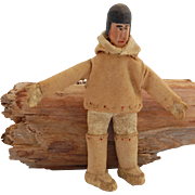 Miniature Eskimo Inuit doll figure carved wood head Made in Labrador  3 3/8 inch