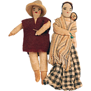 Miniature stockinette cloth doll family Mexican regional folk dress mother father infant  3 ..