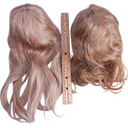 Pair vintage long blonde human hair doll wigs 14 inch head circ.