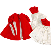 Vintage Barbie Red Flare or Silken Flame coat, tricot long gloves and two red white ...