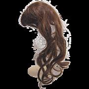 Antique doll wig long wavy human hair brunette short straight bangs and hair band 9 inch circ.
