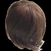 Old human hair doll wig page boy style dark brunette  cloth cap sized 30 cm ...