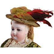 """Antique fashion doll woven bonnet with netting and feather plume trim 3"""" length"""