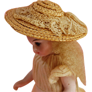 Tiny woven straw doll bonnet for mignonette all bisque dolls lace bow trim  2 1/8 inch  excell