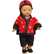 Ernest Heubach 1002 Asian character painted bisque toddler doll Germany  7.5 inch all original