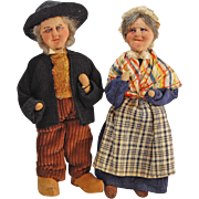 Ravca pair man and woman French stockinette cloth dolls 7.5 inches