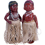 Celluloid windup Hula Dancers native Hawaiian 2 dolls Occupied Japan 6 inches