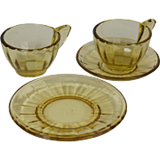 Akro Agate Playtime 1050 Topaz one place setting plus extra tea cup children's and doll's dish