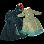 Antique doll coat bonnet dress costume hunter green burgundy velveteen 13 inch L