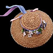 Vintage doll straw bonnet hat flocked flowers elastic chin strap 6 inch diameter