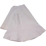 Antique doll skirts full length A-line patterned white material  11 inch waists