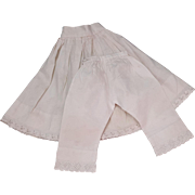 Vintage doll whites cotton matched set petticoat and drawers for china doll eyelet lace hems .