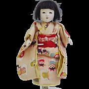 Vintage Japanese Ichimatsu gofun girl doll cat character print pink kimono petite 6.5 inch ...