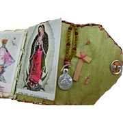 Vintage doll size folding devotional booklet scapular Miraculous Medal Catholic tiny 1.75 x 1