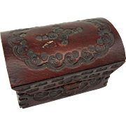 Antique miniature ornately hand tooled thick leather domed top trunk box chest doll size laced