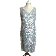 SALE Circa 1960s Anita Modes Blue Sequinned Sheath Dress