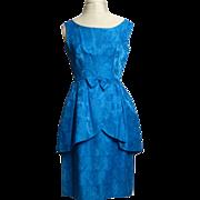SALE Circa 1950s Blue Floral Satin Peplum-Style Dress