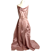 SALE Circa 1940s Rose Pink Silk Shantung Belted Gown