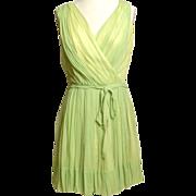 SALE Circa 1960s Lilli Diamond  Pale Green Silk Grecian-Style Dress