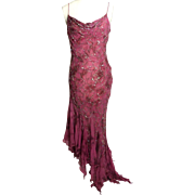 SALE Circa 1990s Dolce Jovani Wine-Colored Silk Beaded Gown