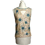 SALE Circa 1960s Hong-Kong Wool Sequin and Beaded Cream and Blue Shell Sweater
