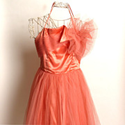 SALE Circa 1950s Emma Domb Coral Party Dress