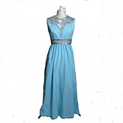 SALE 1950s Ceil Chapman Blue Rhinestone and Sequined Gown/Dress