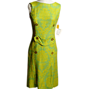 SALE Circa 1960s Honjo Cloth Lime Green and Blue Dress