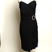 SALE Circa 1970s BB Collections Black Dress with Rhinestone Buckle