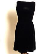 SALE Circa Early 1960s Jay Herbert California Little Black Velvet Dress