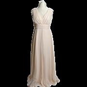 SALE Circa 1970s Cream-Colored Plunge Gown