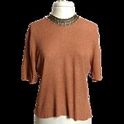 SALE Circa 1950s Rosanna Rayon Knit Top with Beadwork