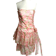SALE Circa 1980s Maggy London by Jeannene Booher Pink Silk Floral Dress