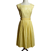 SALE Circa 1960s Yellow Cotton Embroidered Sundress