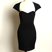 SALE Circa 1980s Ingrid Luhn Black Silk Cutout Cocktail Dress